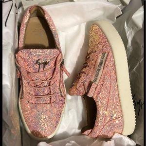 Giuseppe Zanoti-Cheryl glitter sneakers w/ zippers
